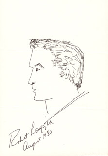 ROBERT LOGGIA - SELF-CARICATURE SIGNED 8/1980