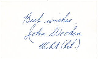 JOHN WOODEN - AUTOGRAPH SENTIMENT SIGNED