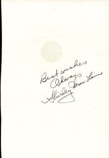 SHIRLEY MacLAINE - AUTOGRAPH SENTIMENT SIGNED