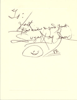 RAY SUGAR RAY LEONARD - AUTOGRAPH NOTE SIGNED 1986