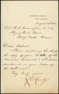 MAJOR GENERAL WINFIELD SCOTT HANCOCK - AUTOGRAPH LETTER SIGNED 08/24/1880