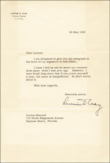 GENERAL LUCIUS D. CLAY - TYPED LETTER SIGNED 05/28/1952