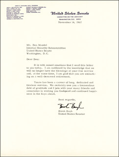 BIRCH BAYH - TYPED LETTER SIGNED 11/14/1967