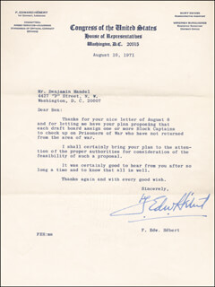 F. EDWARD HEBERT - TYPED LETTER SIGNED 08/10/1971