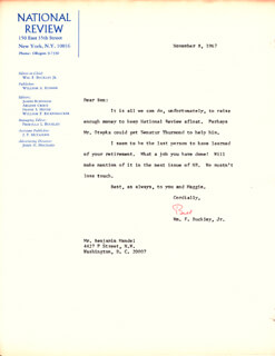 WILLIAM F. BUCKLEY JR. - TYPED LETTER SIGNED 11/08/1967