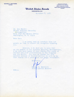 GEORGE A. SMATHERS - TYPED LETTER SIGNED 11/08/1967