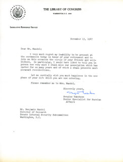 SERGIUS YAKOBSON - TYPED LETTER SIGNED 11/15/1967