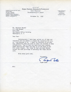 ROGER ROBB - TYPED LETTER SIGNED 11/15/1967