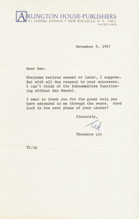 THEODORE LIT - TYPED LETTER SIGNED 11/09/1967