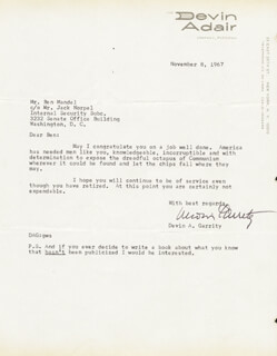 DEVIN A. GARRITY - TYPED LETTER SIGNED 11/08/1967