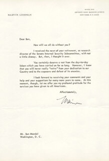 MARVIN LIEBMAN - TYPED LETTER SIGNED