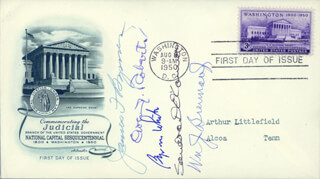 ASSOCIATE JUSTICE JAMES F. BYRNES - FIRST DAY COVER SIGNED CO-SIGNED BY: ASSOCIATE JUSTICE BYRON R. WHITE, ASSOCIATE JUSTICE SANDRA DAY O'CONNOR, ASSOCIATE JUSTICE OWEN J. ROBERTS, ASSOCIATE JUSTICE WILLIAM J. BRENNAN JR.