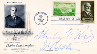 ASSOCIATE JUSTICE STANLEY F. REED - FIRST DAY COVER SIGNED CO-SIGNED BY: ASSOCIATE JUSTICE HARRY A. BLACKMUN, ASSOCIATE JUSTICE JOHN PAUL STEVENS