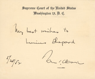 Autographs: ASSOCIATE JUSTICE TOM C. CLARK - AUTOGRAPH NOTE ON SUPREME COURT CARD SIGNED 05/28/1952