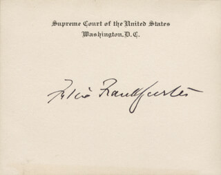 Autographs: ASSOCIATE JUSTICE FELIX FRANKFURTER - SUPREME COURT CARD SIGNED