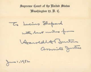 Autographs: ASSOCIATE JUSTICE HAROLD H. BURTON - AUTOGRAPH NOTE ON SUPREME COURT CARD SIGNED 06/01/1952