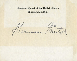 ASSOCIATE JUSTICE SHERMAN MINTON - SUPREME COURT CARD SIGNED