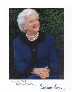 FIRST LADY BARBARA BUSH - AUTOGRAPHED INSCRIBED PHOTOGRAPH