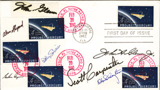JOHN GLENN - FIRST DAY COVER SIGNED CO-SIGNED BY: COLONEL GORDON COOPER JR., CAPTAIN WALLY M. SCHIRRA, SCOTT CARPENTER, REAR ADMIRAL ALAN B. SHEPARD JR., MAJOR DONALD DEKE SLAYTON