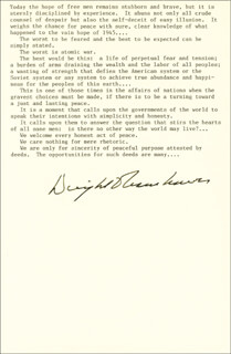 Autographs: PRESIDENT DWIGHT D. EISENHOWER - QUOTATION SIGNED