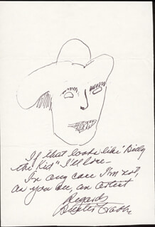 BUSTER CRABBE - SELF-CARICATURE SIGNED