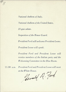 PRESIDENT GERALD R. FORD - PROGRAM SIGNED