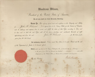 PRESIDENT WOODROW WILSON - CIVIL APPOINTMENT SIGNED 02/16/1917 CO-SIGNED BY: THOMAS W. GREGORY