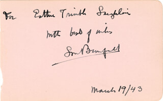Autographs: LOUIS BROMFIELD - INSCRIBED SIGNATURE 03/19/1943