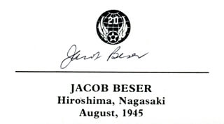 Autographs: ENOLA GAY CREW (JACOB BESER) - PRINTED CARD SIGNED IN INK