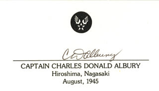 Autographs: BOCKSCAR CREW (CHARLES DONALD ALBURY) - PRINTED CARD SIGNED IN INK