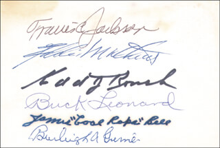 HALL OF FAME BASEBALL - AUTOGRAPH CO-SIGNED BY: BURLEIGH A. GRIMES, EDD J. ROUSH, TRAVIS JACKSON, BUCK LEONARD, EDDIE MATHEWS, JAMES COOL PAPA BELL