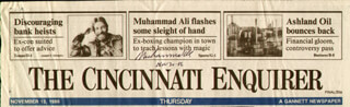 MUHAMMAD THE GREATEST ALI - NEWSPAPER HEADLINES SIGNED 11/30/1986