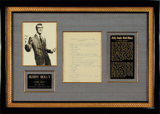 BUDDY HOLLY - AUTOGRAPH MANUSCRIPT UNSIGNED