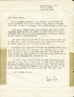 ERNIE PYLE - TYPED LETTER SIGNED 04/08/1941