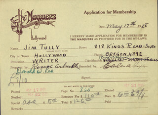 Autographs: ROSCOE FATTY ARBUCKLE - APPLICATION SIGNED 05/19/1928