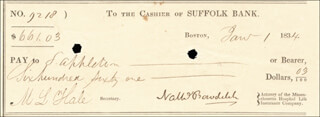 Autographs: NATHANIEL BOWDITCH - CHECK SIGNED 01/01/1834