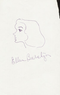 ELLEN BURSTYN - SELF-CARICATURE SIGNED