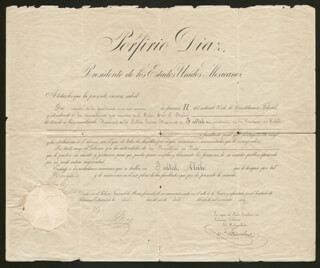 Autographs: PRESIDENT PORFIRIO DIAZ (MEXICO) - DIPLOMATIC APPOINTMENT SIGNED 04/08/1910 CO-SIGNED BY: FEDERICO GAMBOA