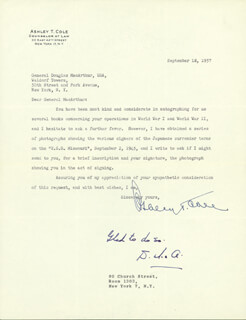 GENERAL DOUGLAS MACARTHUR - TYPED LETTER SIGNED 09/18/1957 CO-SIGNED BY: ASHLEY T. COLE
