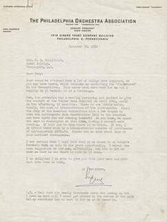 EUGENE ORMANDY - TYPED LETTER SIGNED 11/30/1950