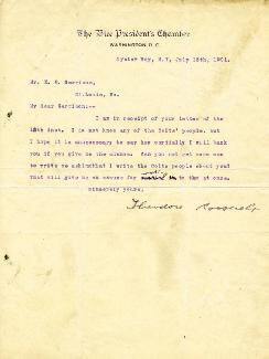Autographs: PRESIDENT THEODORE ROOSEVELT - TYPED LETTER SIGNED 07/15/1901