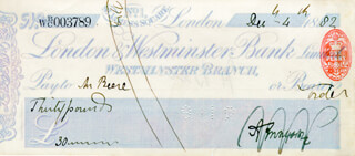 ALFRED LORD TENNYSON - AUTOGRAPHED SIGNED CHECK 12/04/1882