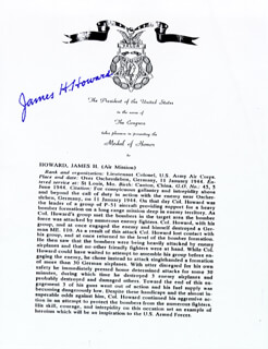 Autographs: BRIGADIER GENERAL JAMES H. HOWARD - TYPESCRIPT SIGNED