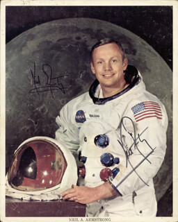 NEIL ARMSTRONG - PRINTED PHOTOGRAPH SIGNED IN INK