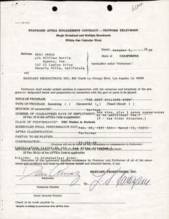 Autographs: DESI ARNAZ SR. - CONTRACT SIGNED 10/01/1970
