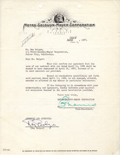 RAY BOLGER - DOCUMENT SIGNED 06/04/1937