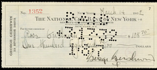 GEORGE GERSHWIN - AUTOGRAPHED SIGNED CHECK 03/14/1932 CO-SIGNED BY: ROSE GERSHWIN, MORRIS GERSHWIN