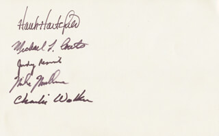 JUDITH A. JUDY RESNIK - AUTOGRAPH CO-SIGNED BY: CHARLES D. WALKER, COLONEL RICHARD MIKE MULLANE, COLONEL HENRY HANK HARTSFIELD JR., CAPTAIN MICHAEL L. COATS
