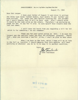 Autographs: JOHN STEINBECK - TYPED LETTER SIGNED 08/17/1964