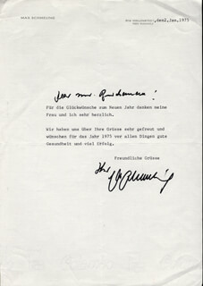 MAX SCHMELING - TYPED LETTER SIGNED 01/02/1975